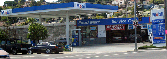 Mobil gas station in Belmont, California