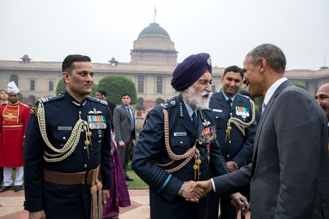 President Obama greets Arjan Singh, Marshal of the Indian Air Force