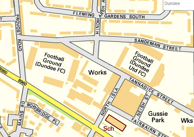 Map of Dens Park and Tannadice Park, Dundee, Scotland, October 2010