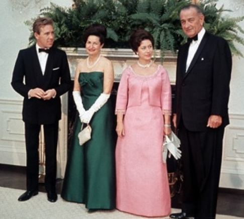 Princess Margaret and Lord Snowdon with Lyndon B. Johnson and Lady Bird Johnson