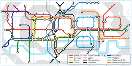 a graphic of the google logo drawn out in coloured tube style lines and stations