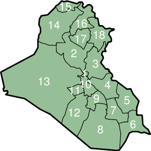 Iraqi Governorates (numbered)