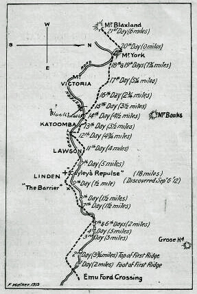 Blaxland's route across the mountains in 1813