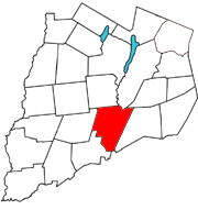 Otsego County map with the Town of Milford in Red