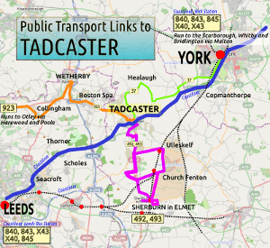 Thumbnail of transport links to Tadcaster, 2015