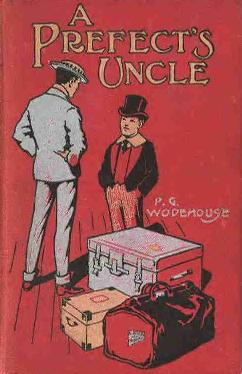 book cover illustration showing luggage, an adult, and a boy, the latter in old-fashioned school uniform