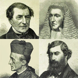 Four men, the second of whom wears a wig resembling that of a judge, and the fourth of whom wears clerical clothes
