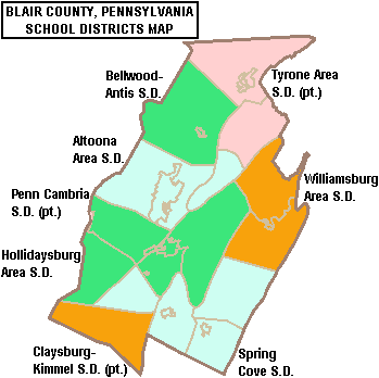 Map of Blair County Pennsylvania School Districts