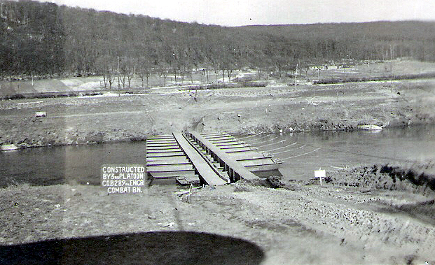 Infantry support bridge over Saar River erected by 289th Engineers at Volklingen