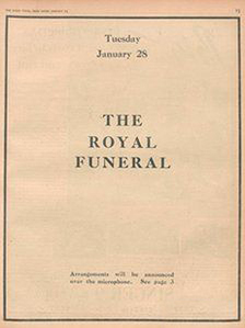 Radio Times - page for George V funeral - 28 January 1936