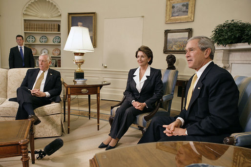 Bush, Pelosi, and Hoyer meeting at White House, Nov 9, 2006