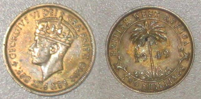 Two shilling coin from British West Africa