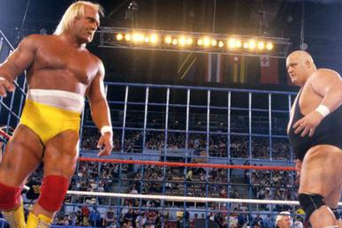 Bundy and Hogan face each other in front of one side of a blue steel cage