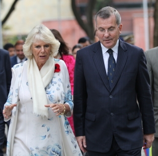 Camilla, Duchess of Cornwall with Peter McLaughlin in The Doon School