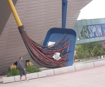 Denver broom and shovel sculpture