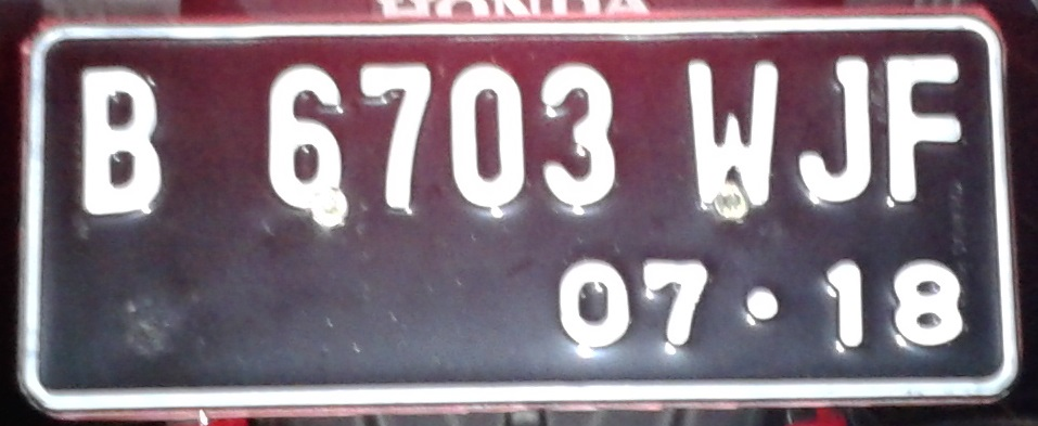 Current vehicle plate number design of Indonesia