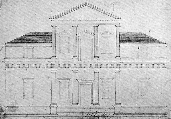 Monticello original front elevation drawing 1771