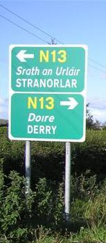 Derry Stranorlar N13 roadsign cropped