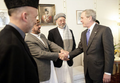 George W. Bush meets Afghan politicians in Kabul