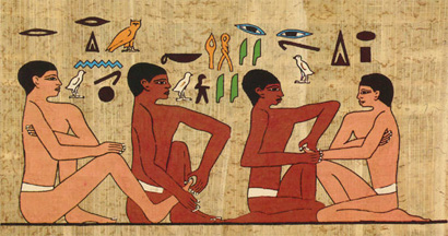 Wall painting from 2330 BC found in a tomb shows people with painted nails