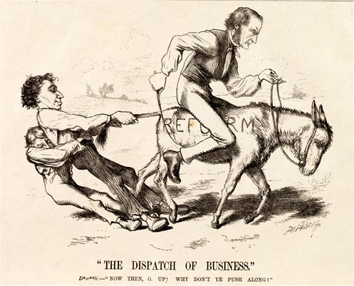 "A caricature showing Gladstone on a donkey, marked ""reform"", being held back by Disraeli and a working-class man, who are holding the donkey's tail"