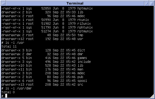 Version 7 Unix SIMH PDP11 Emulation DMR