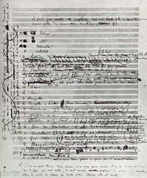 Berliozs manuscript of first page of Symphonie Fantastique