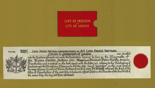 Certificate of Freedom of the City of London for Ari Norman