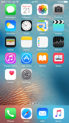 IOS 9 Homescreen