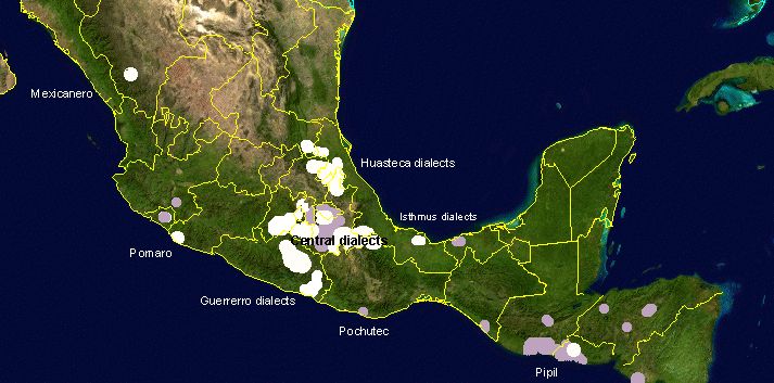Nahuatl dialects map