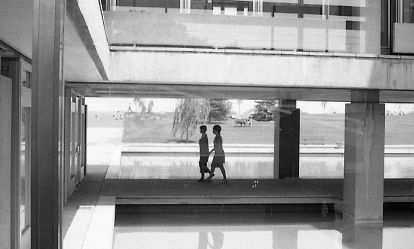 Reflecting pool and women walking at World Health Organization, Geneva, 1969
