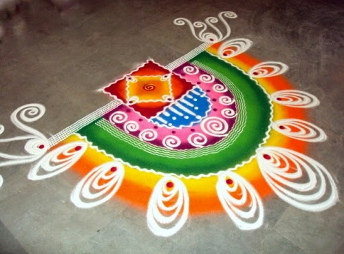 Floor Rangoli decoration on Diwali