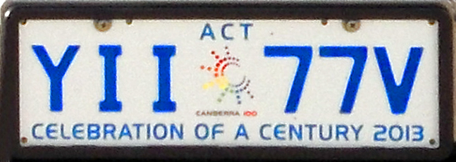 General issue vehicle registration plate of Australian Capital Territory, standard size, YII-77V, Celebration of a Century 2013 (2014-06-30)