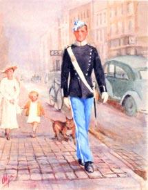 Painting by Olga of a young guardsman in a two-toned blue uniform striding forward on the pavement of a cobbled street; behind him a well-dressed lady in a wide-brimmed hat walks with a small child and a pet dog, and a 1930s motor car and bicycle are in the street