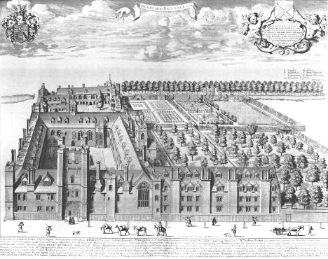 Queens' College, Cambridge by Loggan 1690 - quns Loggan1685
