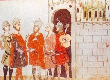 Manuscript illumination of five men outside a fortress