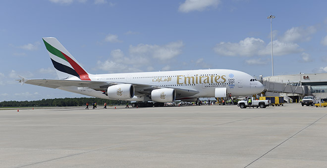 Emirates A380 A6-EOM at MCO-Orlando International Airport on 1-Sep-2015