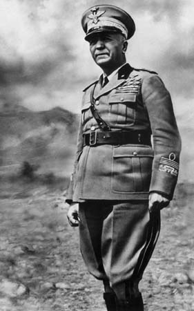 Marshal Pietro Badoglio standing in uniform
