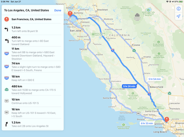 Apple Maps directions interface