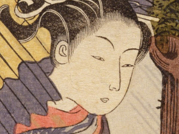 Colour print of a Japanese woman's face.  The colours are bold and flat, and the contours are outlined in black.