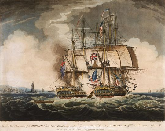 W Elmes, The Brilliant Achievement of the Shannon ... in Boarding and Capturing the United States Frigate Chesapeake off Boston, June 1st 1813 in Fifteen Minutes (1813)