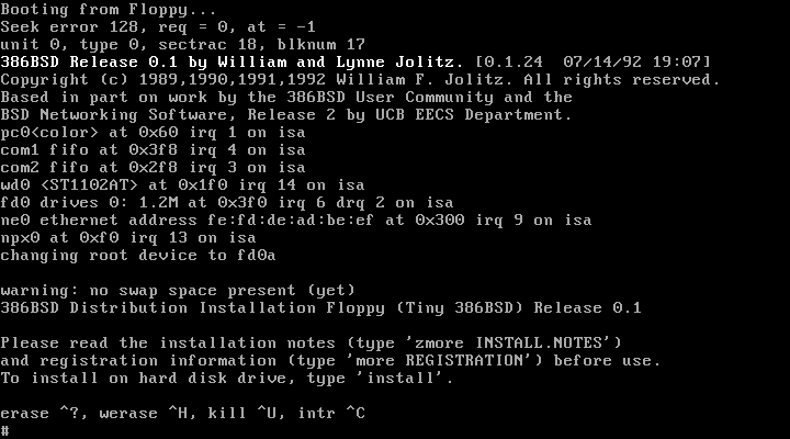 Black and white 386BSD installer screenshot
