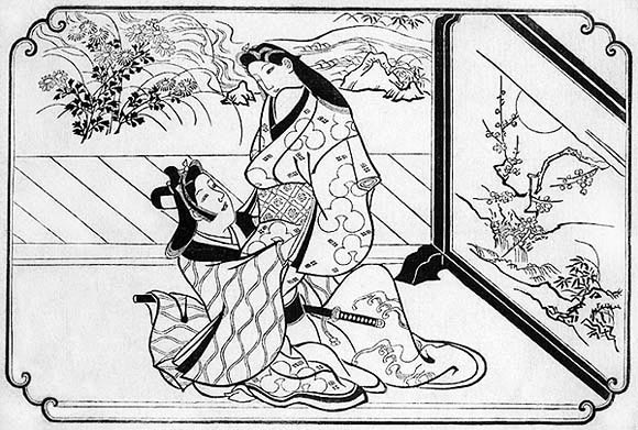 A black-and-white illustration of a pair of lovers in splendid dress at play.