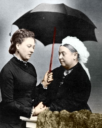 Princess Beatrice mourning with Queen Victoria