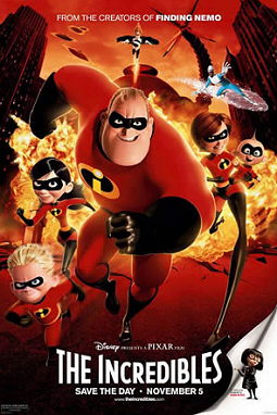 Theatrical release poster depicting the Incredibles running from an explosion