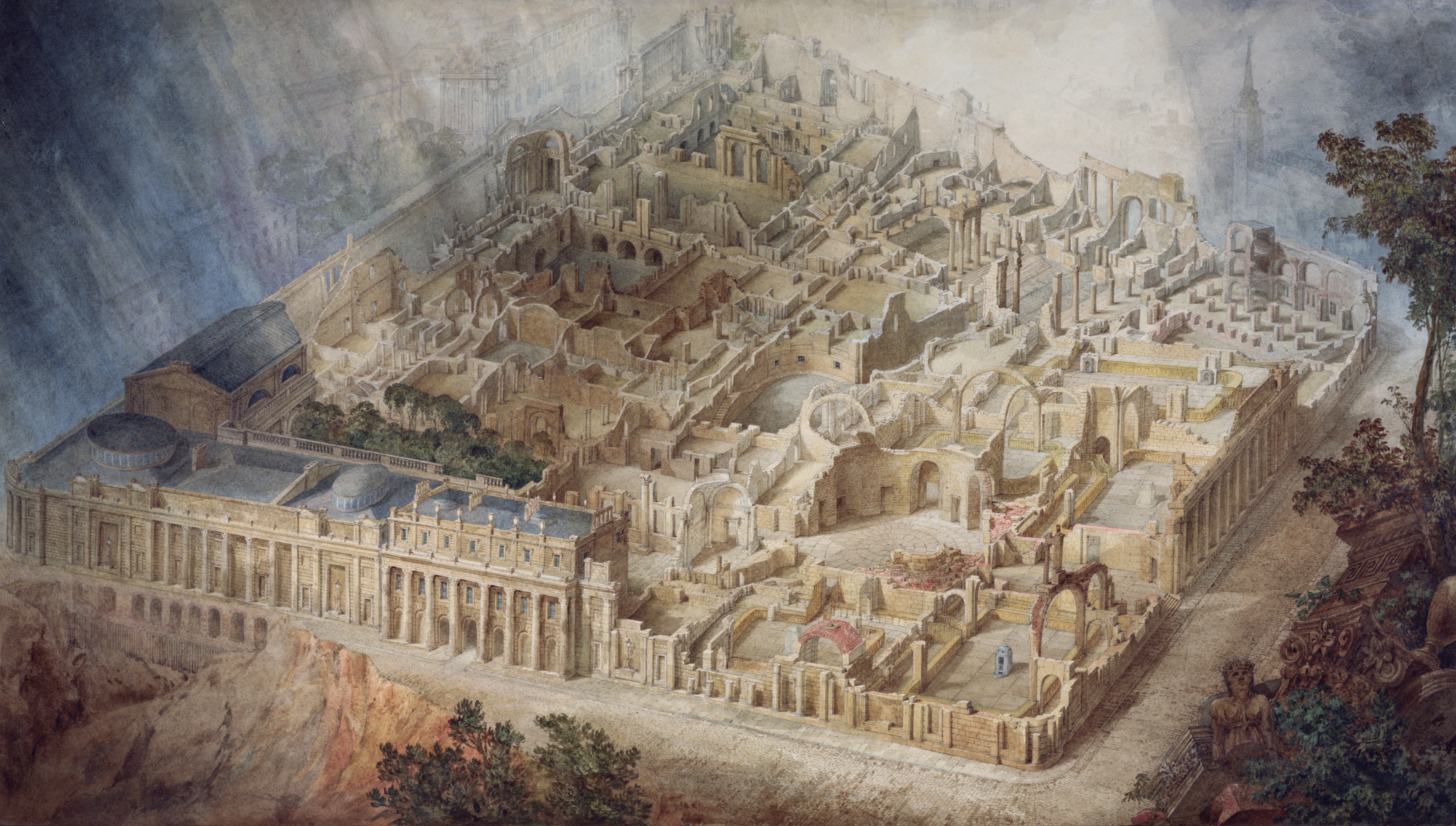Aerial cutaway view of Soane's Bank of England by JM Gandy 1830
