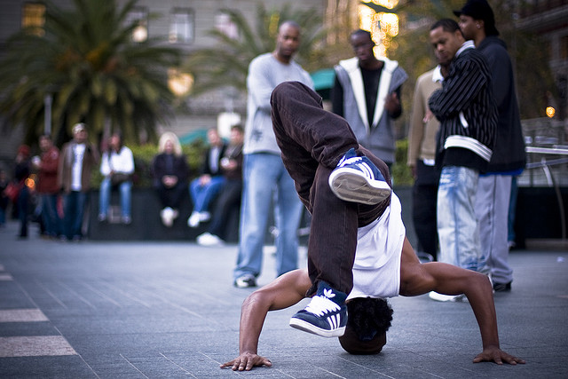 B Boy doing a freeze