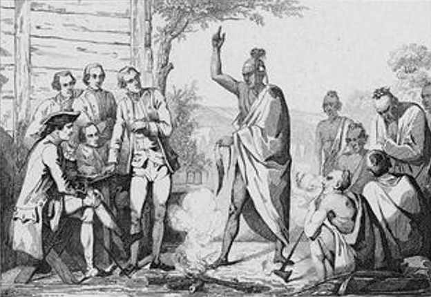 Conference Between the French and Indian Leaders Around a Ceremonial Fire by Vernier