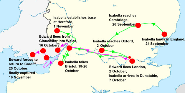 Isabella's invasion route (1326)