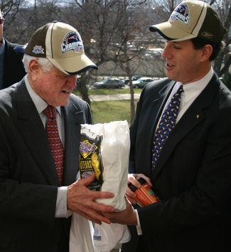 Santorum Makes Good on Friendly Wager with Kennedy